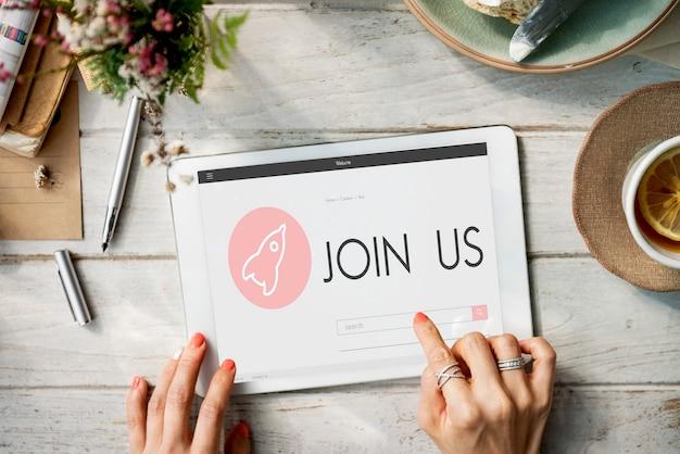 Junte-se a nós novo conceito de plano de lançamento de negócios