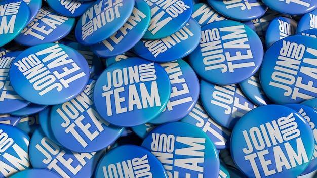 Junte-se ao fundo do botão dos pinos azuis da equipe