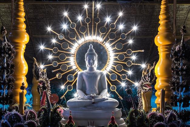 Kanchanaburi, tailândia - 15 de agosto de 2015: estátua de buda em cena noturna com naka sob cand elétrica