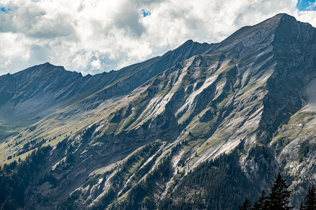 Kandersteg suíça - vista de bunderspitz, allmegrat e first