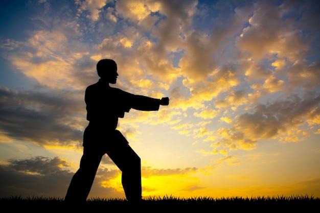 Karate homem ao pôr do sol