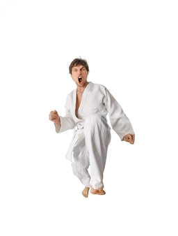 Karate lutador fazendo um movimento