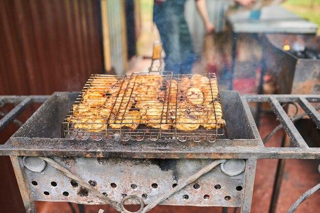 Kebab de frango na grelha