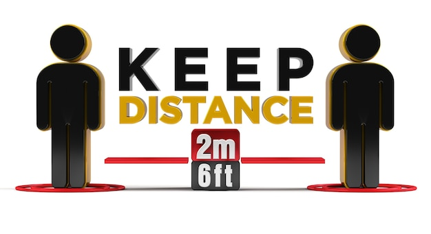 Keep distance 2m-6ft policy sign renderização 3d.