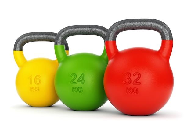 Kettlebells de ginástica coloridos com pesos diferentes