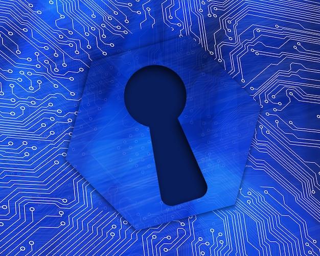 Keyhole graphic on blue background