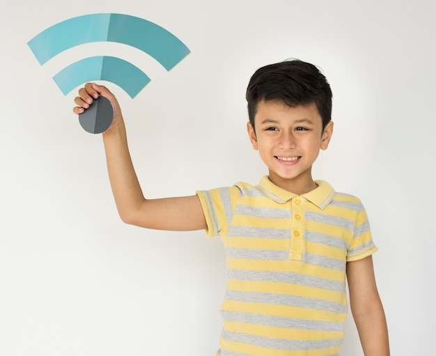 Kid child wifi icon papercraft holding