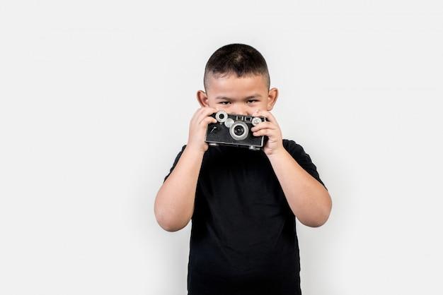 Kid fotógrafo tirar uma foto