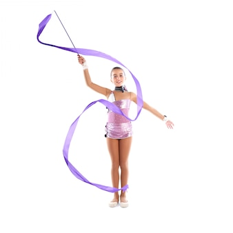 Kid girl ribbon exercício de ginástica rítmica