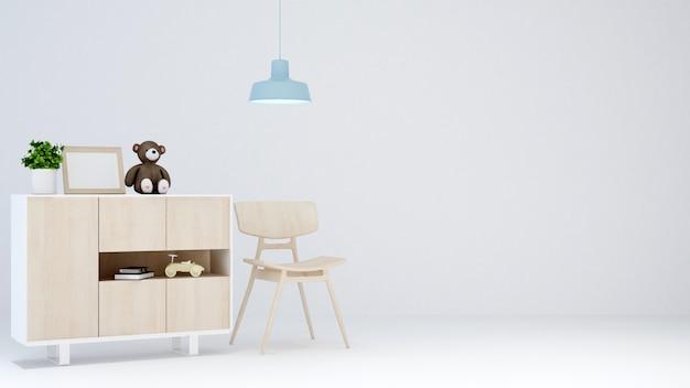 Kid room em sala branca para obras de arte - renderização em 3d