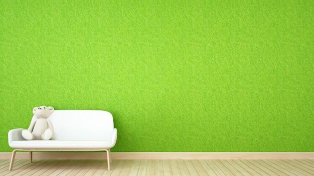 Kid room ou sala de estar e grama parede - renderização em 3d