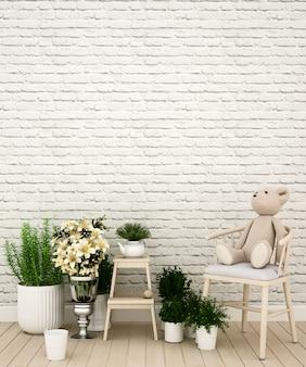 Kid room ou sala de estar em casa ou creche - renderização em 3d