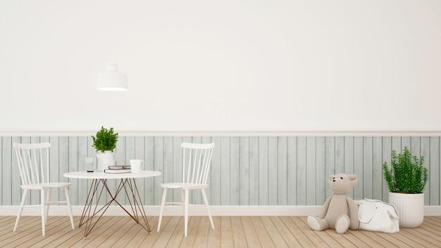 Kidroom ou café design clássico moderno - renderização em 3d