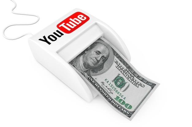 Kiev, ucrânia - 17 de maio: ganhe dinheiro com o conceito do youtube. máquina de youtube money maker com notas de dólares em um fundo branco. renderização 3d