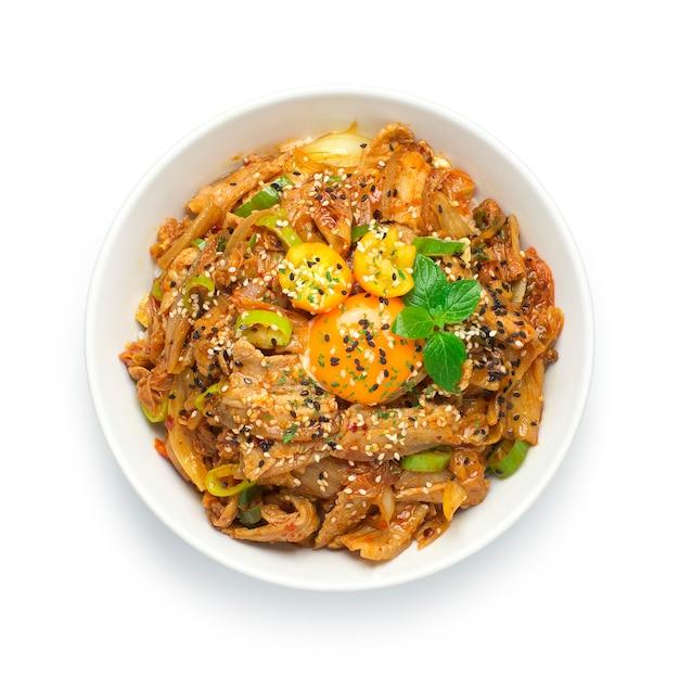 Kimchi frito com carne de porco com arroz comida coreana