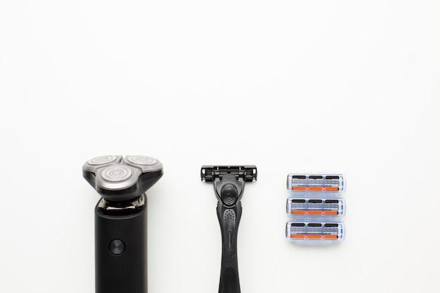 Kit de barbear em configuração plana