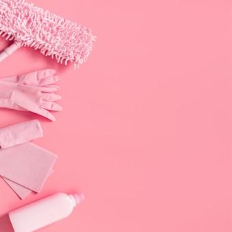 Kit de limpeza em rosa