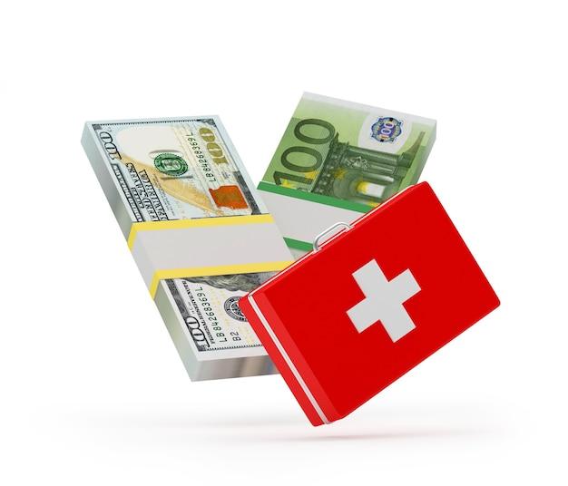 Kit de primeiros socorros com notas de dólar e euro 3d
