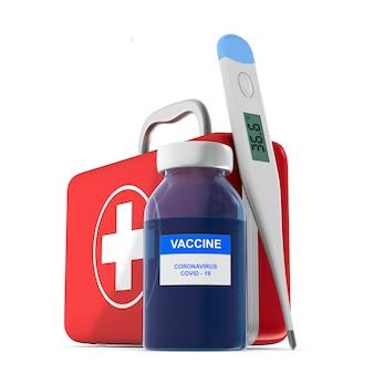 Kit de primeiros socorros com vacina e termômetro na superfície branca isolado