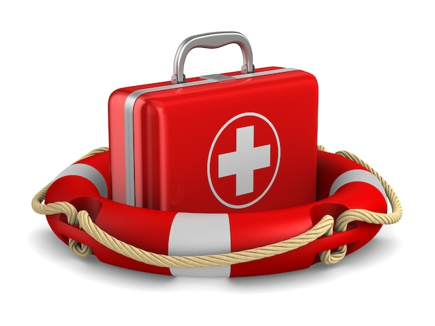 Kit de primeiros socorros e anel salva-vidas em branco. ilustração 3d isolada