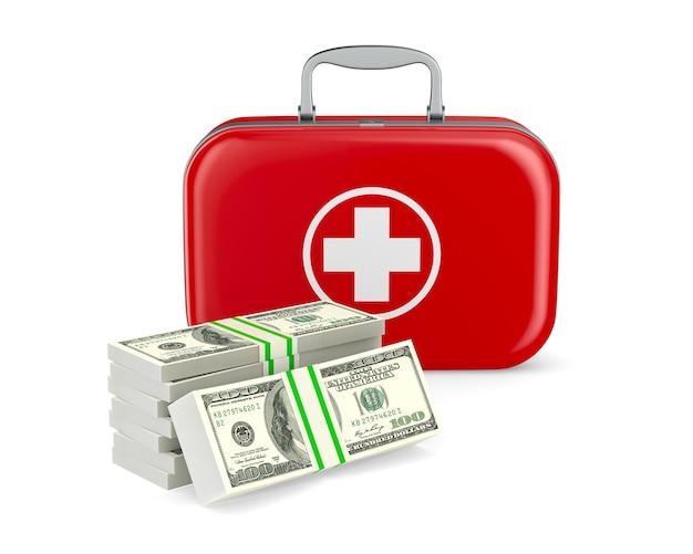 Kit de primeiros socorros e dinheiro em fundo branco. ilustração 3d isolada