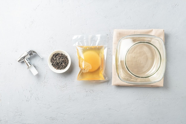 Kombuchá em embalagem com ingredientes para cozinhar. alimentos fermentados.