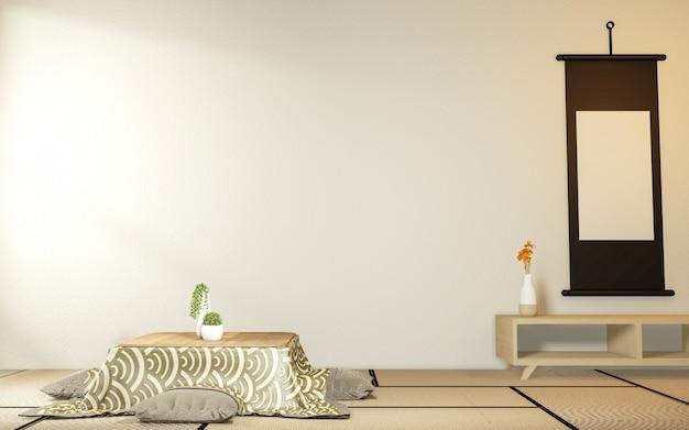 Kotatsu mesa baixa e travesseiro ontatami mat, quarto japão e quadro mock up. 3d rednering