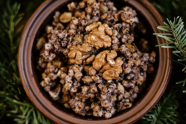 Kutia mingau tradicional feriado eslavo prato de natal