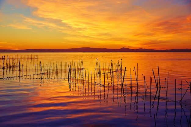 La albufera lago pôr do sol em el saler de valência