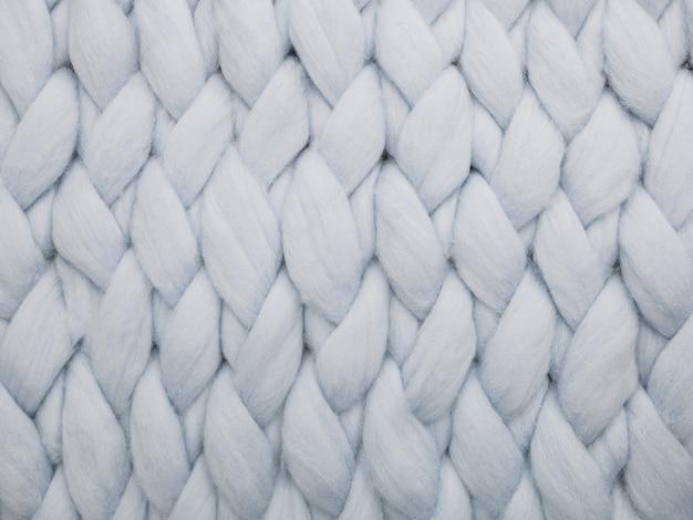 Lã de merino feita à mão grande manta. close-up de manta de malha.