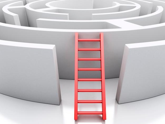 Labirinto 3d branco com escadas vermelhas.