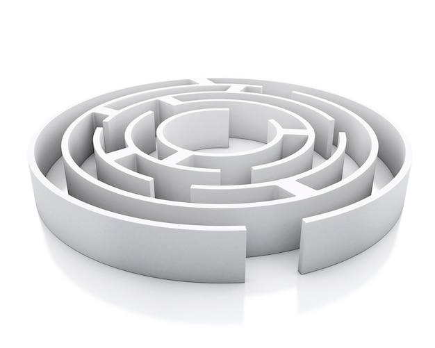 Labirinto 3d branco. fundo branco isolado.