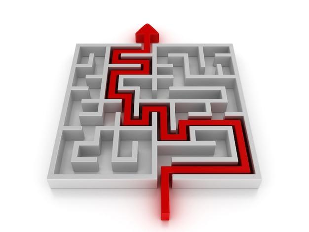 Labirinto 3d com caminho de seta