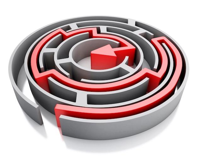 Labirinto 3d com seta vermelha marcando a rota.