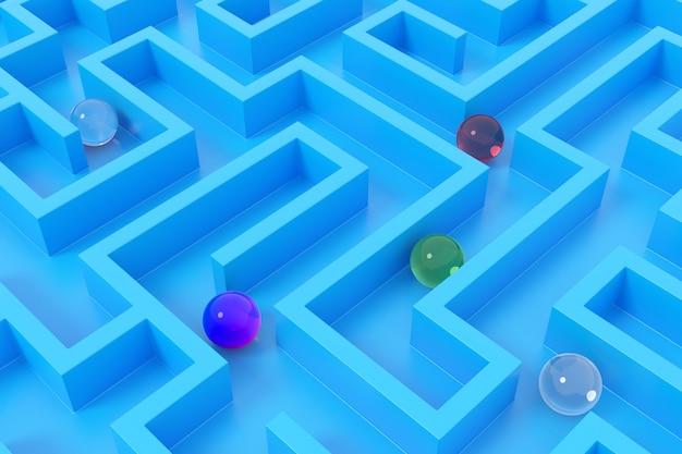 Labirinto abstrato. renderização em 3d.