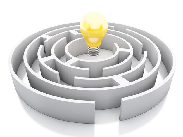 Labirinto branco 3d com o ícone de lâmpada.