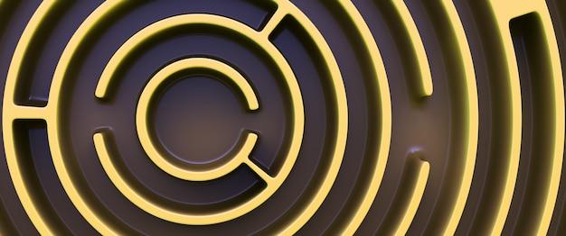 Labirinto circular amarelo. vista do topo.