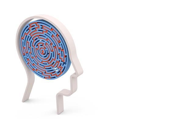 Labirinto circular com formato de cabeça humana. fundo branco isolado. renderização 3d