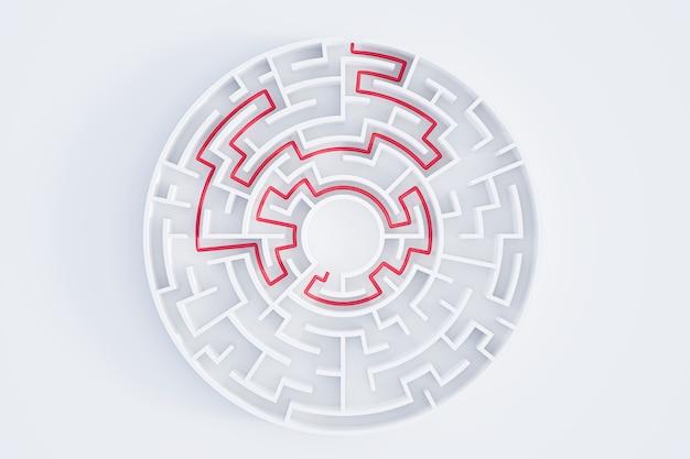 Labirinto circular de renderização 3d em vista superior em branco