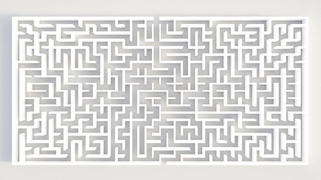 Labirinto circular de renderização 3d em vista superior em fundo branco.