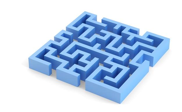 Labirinto quadrado azul. ilustração 3d. isolado. contém traçado de recorte