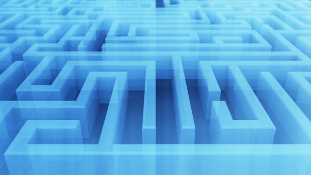Labirinto transparente tecnológico sem fim