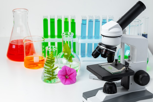 Laboratório médico. microscópio científico com tubos de ensaio e plantas