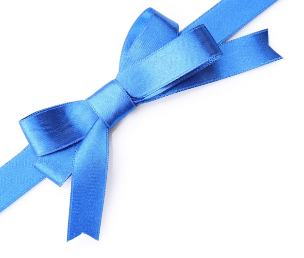 Laço de fita azul escuro isolado no branco