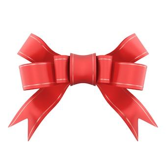 Laço de presente de cetim vermelho. fita. isolado no branco. renderizado em 3d