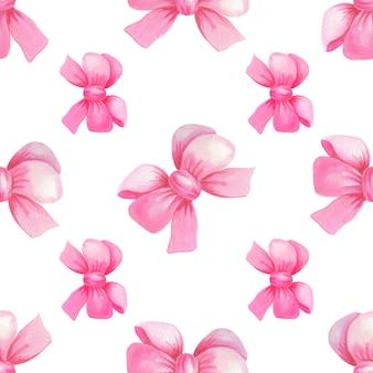 Laço de presente rosa aquarela. padrão sem emenda de férias.