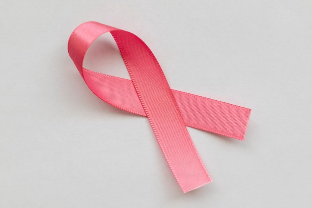 Laço rosa da campanha de prevenção do câncer de mama outubro rosa