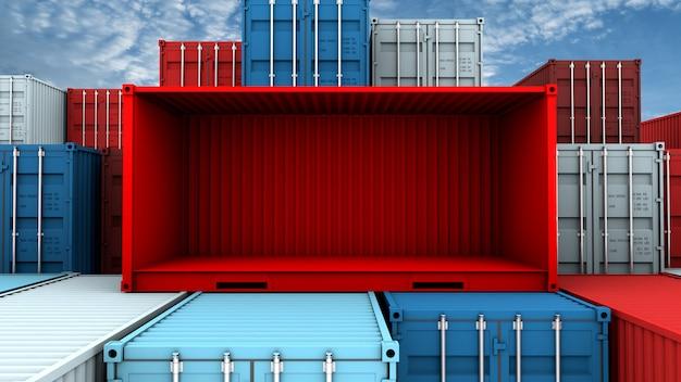 Lado inteiro e caixa vazia de contêiner vermelho no navio de carga