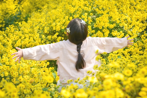 Lado traseiro da criança linda jovem caminhando e dançando pelo campo de crisântemo amarelo.