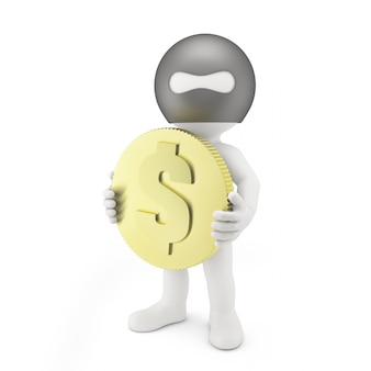Ladrão com uma moeda de um dólar